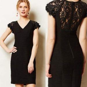Anthropologie Maeve Black Floral Appliqué Dress 8